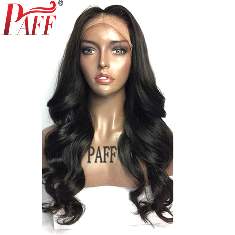 PAFF 4*4 Silk Base Lace Front Human Hair Wig Body Wave With Free Part Silk top Peruvian Remy Hair Wig Pre Plucked Hairline