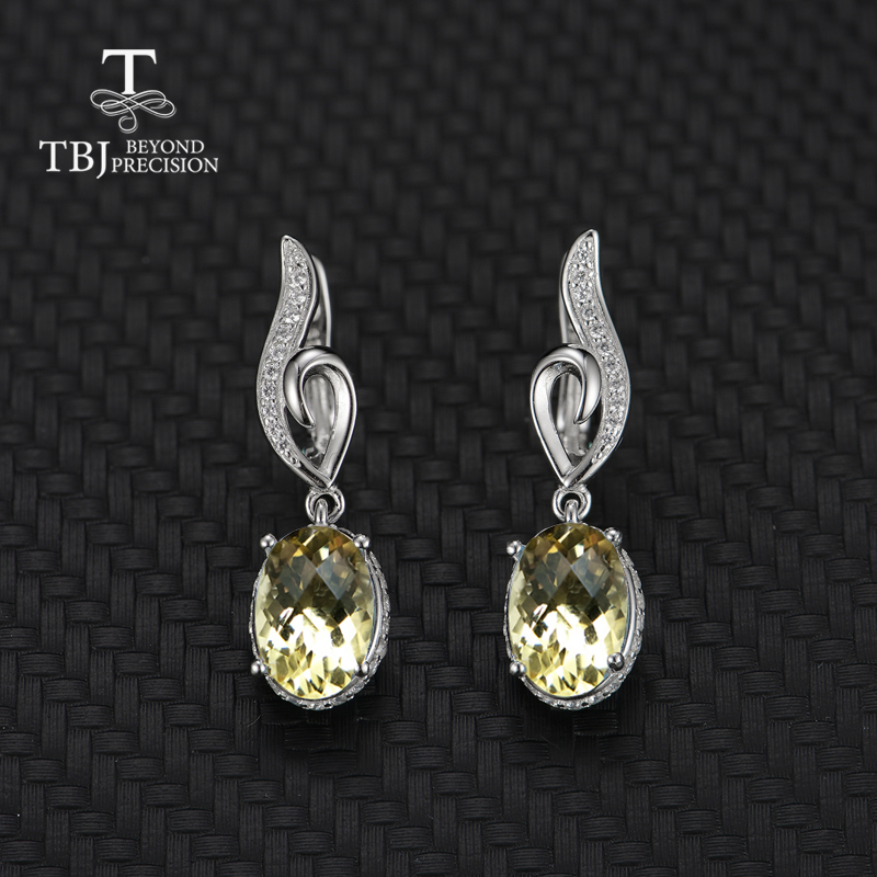 TBJ,2019new style natural citrine earring gemstone 925 sterling silver fine jewelry simple design best Valentine gift for woman
