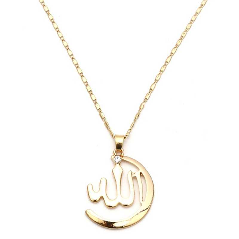 New Fashion Islamic Totem Allah Necklace Pendant For Women Silver Gold Color Muslim Chains Full Cubic Zircon Inlaid Gifts