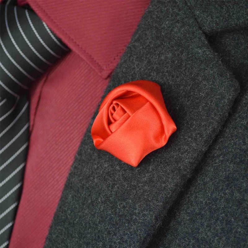 Baru Pria Terbaik pria kancing Groom Boutonniere Silk Satin Rose Bunga Wedding Party Prom Man Gugatan Korsase Pin Bros