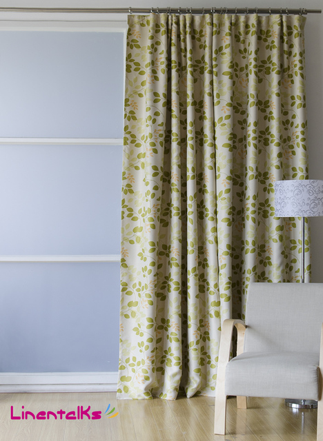 New Arrival Free Shipping Fashion Leaf Design Printing Ready Made Door Blackout Window Curtains Rod Eyelet