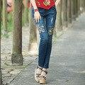 Womens Skinny Mid Waist Blue Pencil Jean Pants Stretch Denim Pants Slim Embroidery Jean Trousers Plus Size