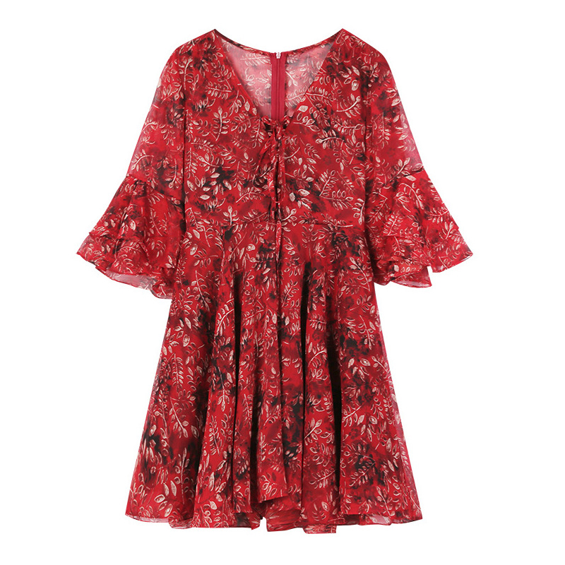 Fashion women elegant high quality dress new arrival summer plus size v-neck temperament sleeveless print mini a-line dress 6