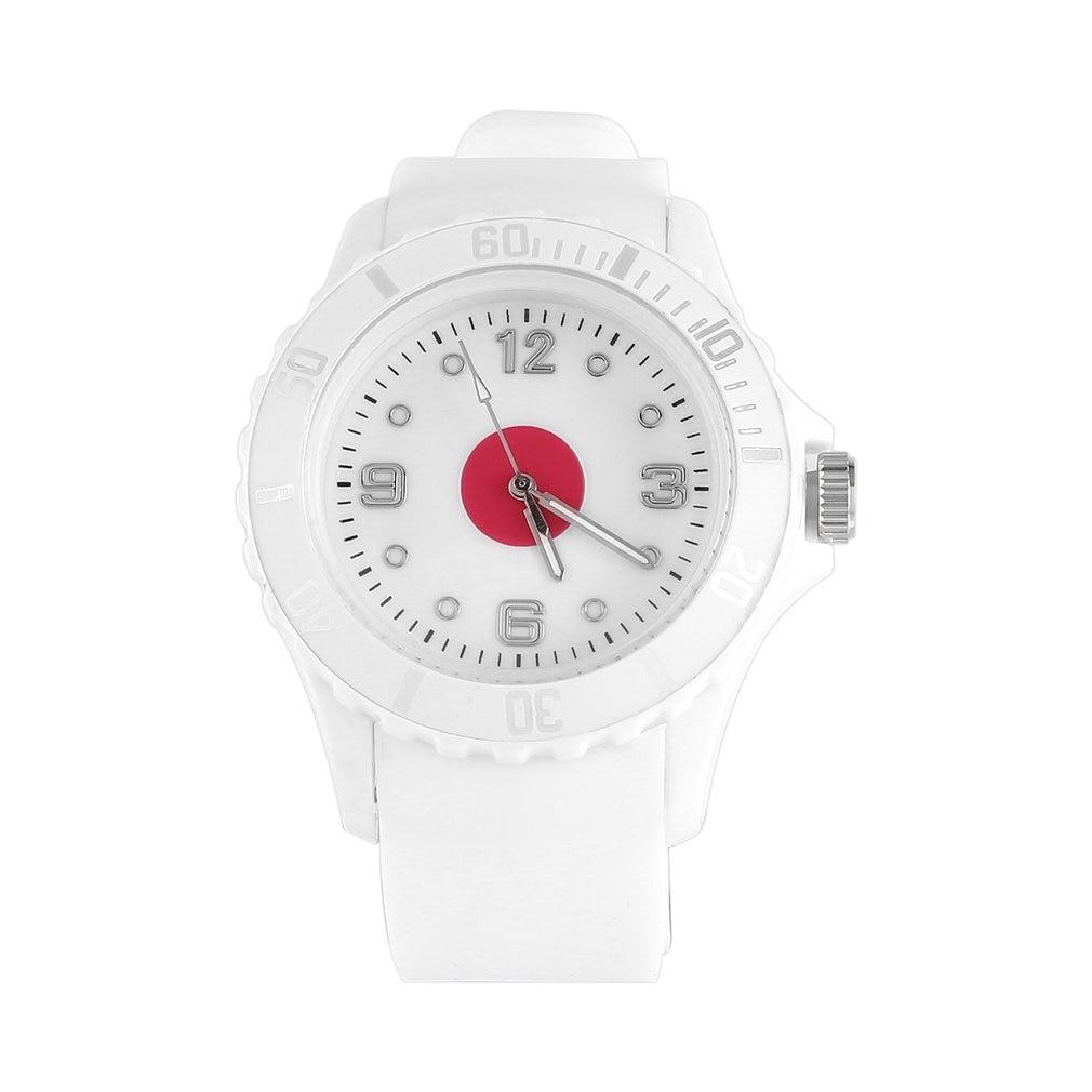 Japanese/England/Italian Flag Pattern Quartz Wristwatches White Color Soft Silicone Stylish Watches