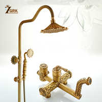 ZGRK Shower Faucets Antique Bathroom Faucet Brass Bath Rainfall With Spray Shower Head Bidet Tap Europe Faucet Bath Shower Set