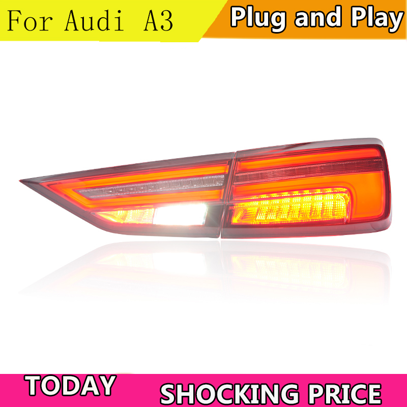 Car Styling Taillights For Audi A3 2014-2019 LED Dynamic turn signal TailLight Rear Light LED Brake+Park+Moving Turn Signal Lamp