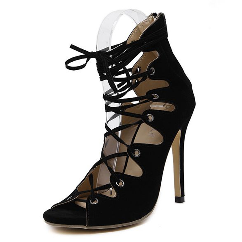 ФОТО Women High Heels Summer Sandals Party Shoes Woman Lace Up Open Toe Black Stiletto Pumps Size 35-40 ZG938-78