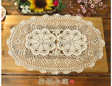 Handmade Crochet flowers Oval Tablecloths Cotton Doilies Placemats Decorative Cover cloth Lamp pad / mat vase ( 2PCS/LOT)