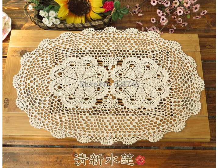 Handmade Crochet Flowers Oval Tablecloths Cotton Doilies