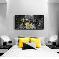 Light And Dark Contrast Yellow Car Bike Black Bridge Architecture Highway Gray Art Picture Canvas Posters