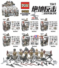 D164 6pcs WW2 Anti Soviet Guards Moscow Battle Military Russian US figures Army building blocks bricks