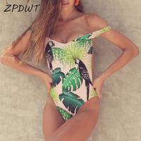 ZPDWT Sexy Monokini Leaf Print   One     Piece   Swimsuit Parrot Swimwear Women Sexy Backless Swim Bathing   Suit   Trikini Maillot De Bain