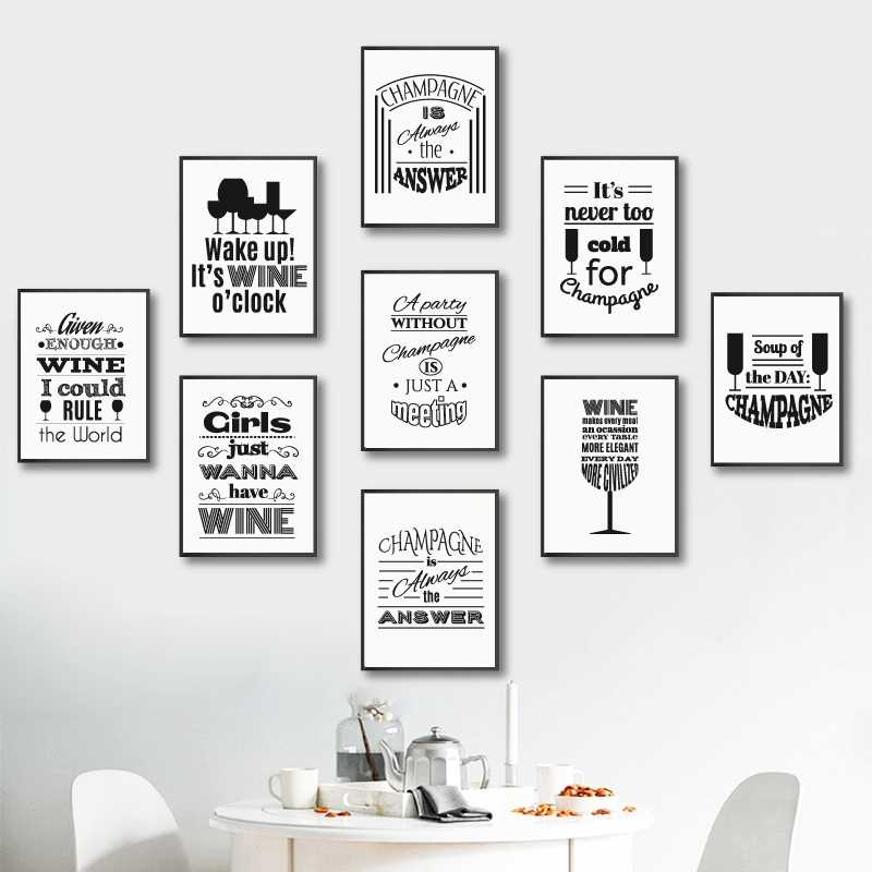 Champagne and Wine Quotes Typography Minimalist Prints Nordic Poster Kitchen Wall Art Pictures Canvas Painting Bar Home Decor