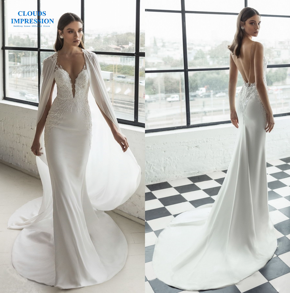 Romantic Vestido De Novia Mermaid Beading Crystal Sexy Bridal Gowns Vintage Wedding Dresses 2019 Two-piece