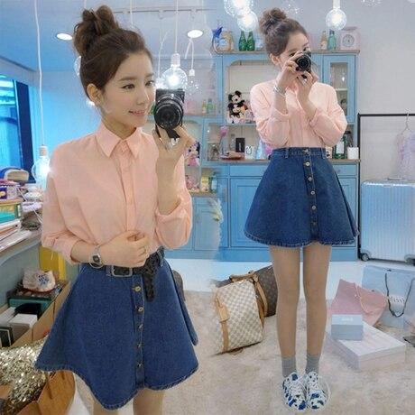 High Waisted Denim Skirt With Buttons - Dress Ala