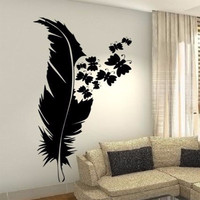New Beauty Feather Plume Wall Art Custom Vinyl Decals Stickers Decor Butterfly
