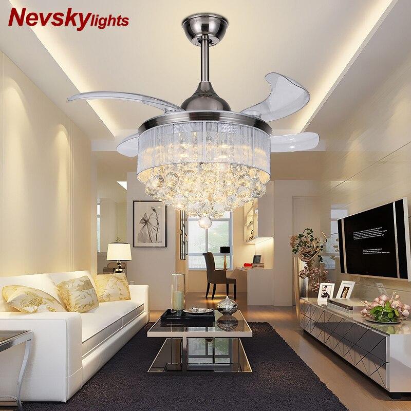 Crystal Ceiling Fans With Lights Folding Ceiling Fan Remote Control Ceiling Light Fan Lamp ventiladores de techo con luz