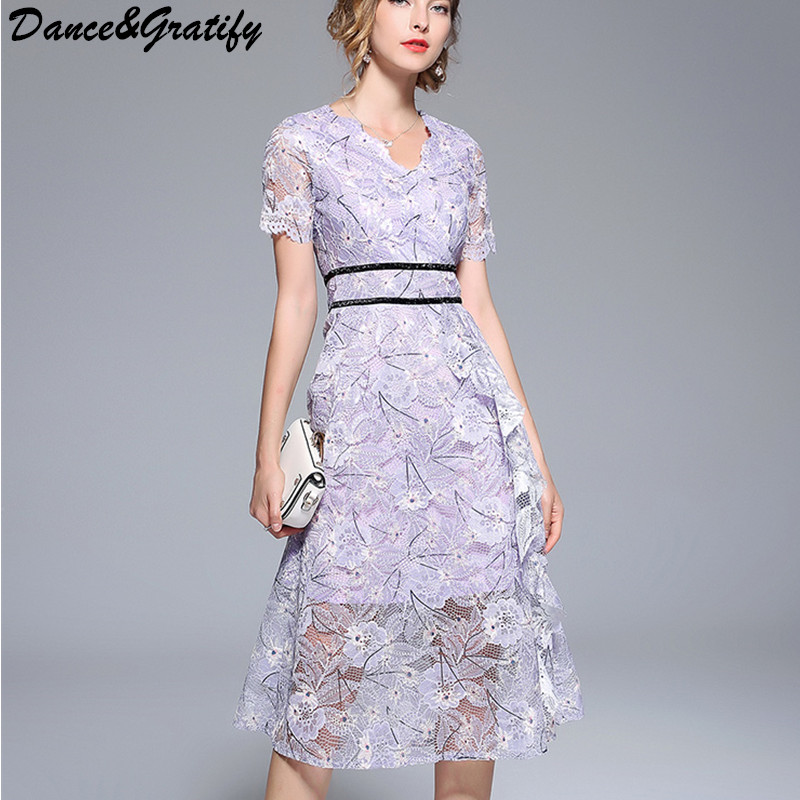 d540274e11 Detail Feedback Questions about 2018 New Summer Hollow Out Lace Party Dress  Women Casual Short Sleeve V neck Office Work Midi Dress on Aliexpress.com  ...