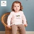 DB3882 dave bella otoño bebé muchachas del pájaro bordado camiseta bebé Camiseta de color rosa con volantes blusa del algodón del bebé chica remata