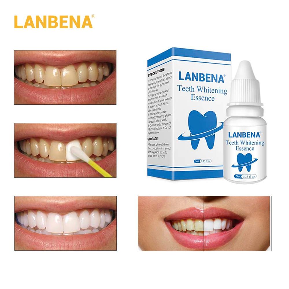 LANBENA 3D Weiß Zähne Bleaching Essenz Dental Aufheller Oral Hygiene Weiß Zahn Reinigung Bleichen Serum Entfernen Plaque Flecken
