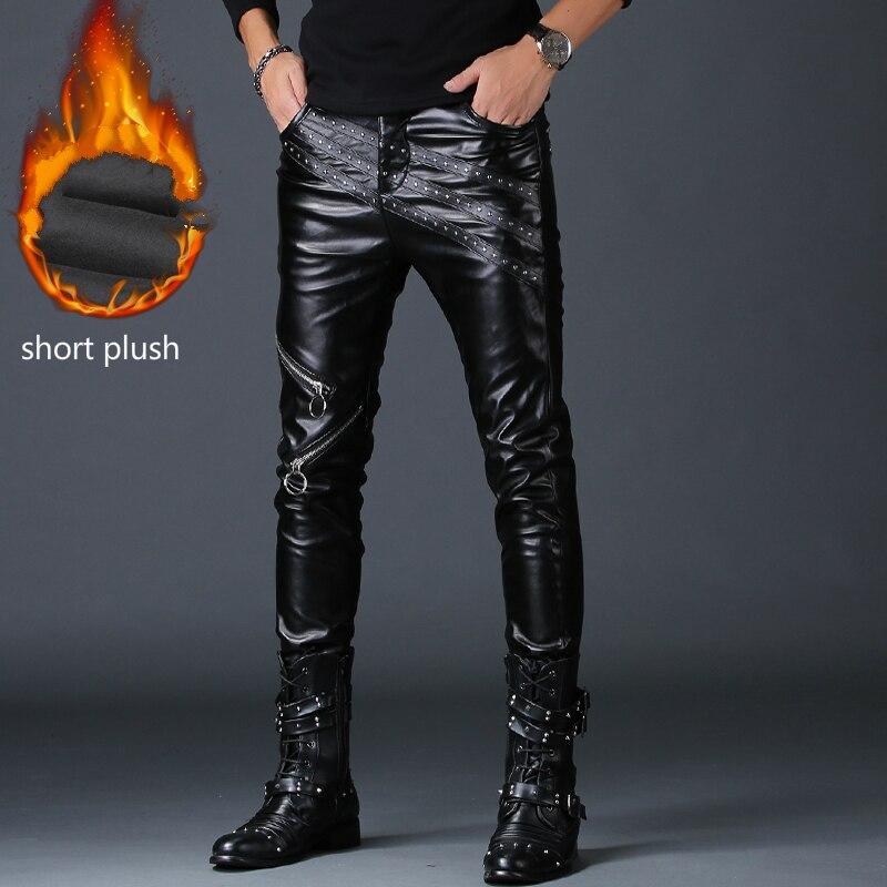 2019 nouveau mode hommes slim fit PU faux cuir pantalon noir faux tirettes hip hop rock vêtements moto skinny pantalon rue