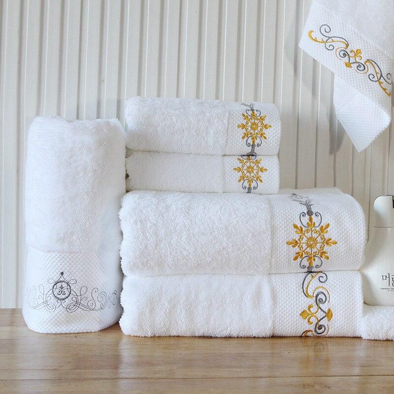 Grande 100% coton blanc serviettes salle de bain hôtel serviette bain serviettes de plage adultes broderie absorbant noël serviette de bain LZA002