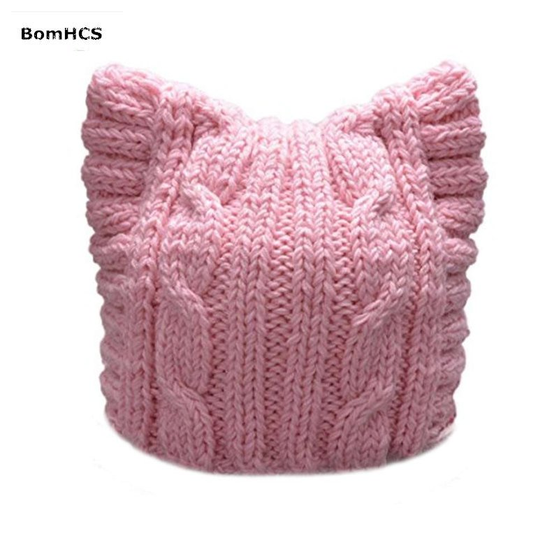 BomHCS Handmade Knit Pussycat Hat Women's March Parade Cap Cat Ears Beanie