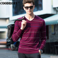 High Quality Soft Warm Merino Wool Sweater Men Brand Clothing Leisure Striped V Neck Sweaters Knitted