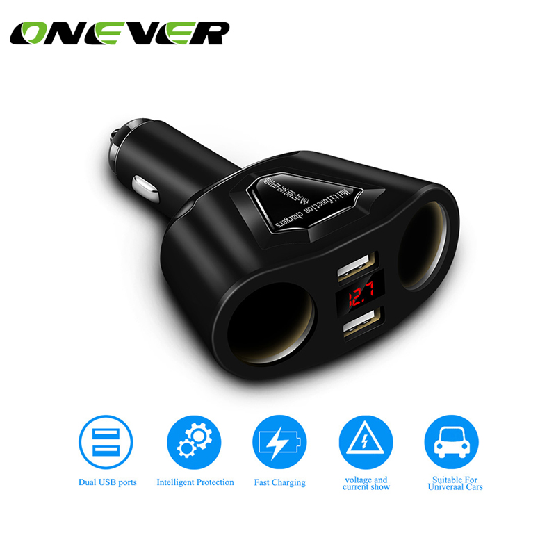 Onever 2 Cigarette Lighter Socket Power adapter with Dual usb 120W Support Display Current Volmeter 5V