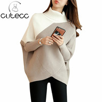 Korean Spring Autumn Choker Student New Pattern Bat Sleeve Pullover Thickening Sweater Woman Easy Rendering Patchwork