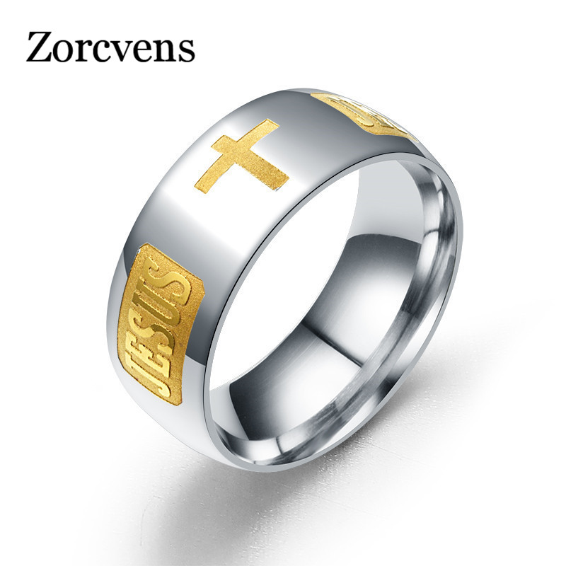 Zorcvens 316 titânio aço prata cor chapeado anel cristão jesus cruz carta bíblia cor prata casamento banda anel masculino