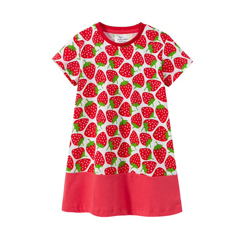 Jumping meters new style child cotton dresses baby girls dress kids Flamingo cartoon dress baby girls top quality summer dresses Платье