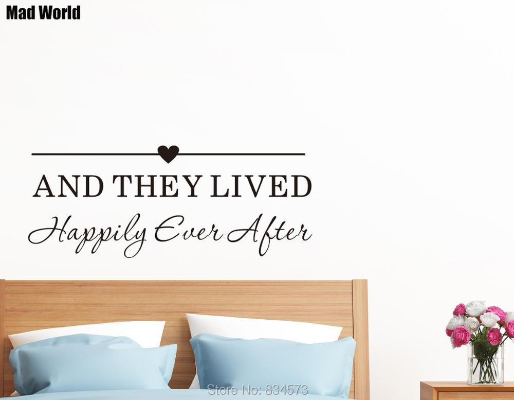 Mad World-And they lived happily ever after Quote Wall Art Stickers Wall Decal Home DIY Decoration Removable Decor Wall Stickers image