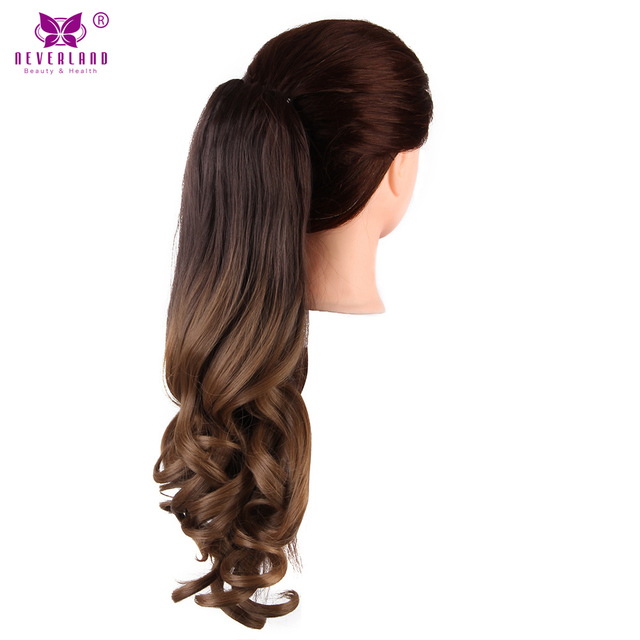Neverland 20 50cm synthetic wavy claw clip in ponytail hair neverland 20 50cm synthetic wavy claw clip in ponytail hair extension brown ombre highlight color pmusecretfo Image collections