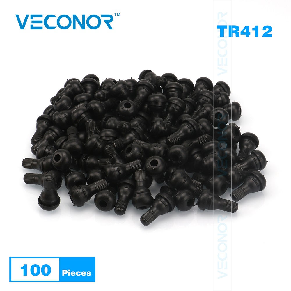 100PCS TR412 Snap-In Tire Valve Stems Short Black Rubber Tire Wheel Accessories With Dust Cap