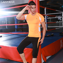 GANYANR Mens Sport Suits Compression Jogging Gym Running T Shirt Workout Tights Basketball Shorts Sportswear Soccer Training Set