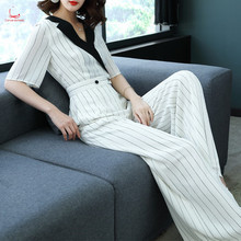 The new summer jumpsuit short sleeve loose jumpsuit women's fashion stripe wide-leg jumpsuit