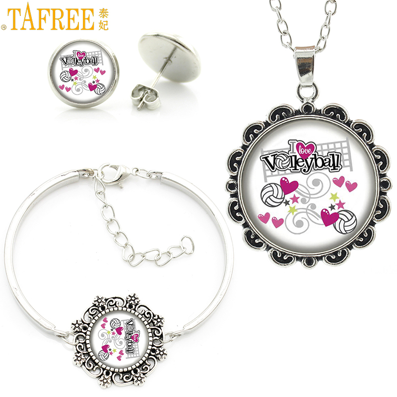 TAFREE novelty fashion Love Volleyball women flower jewlery sets casual sports style chain necklace earrings bracelet set SP186