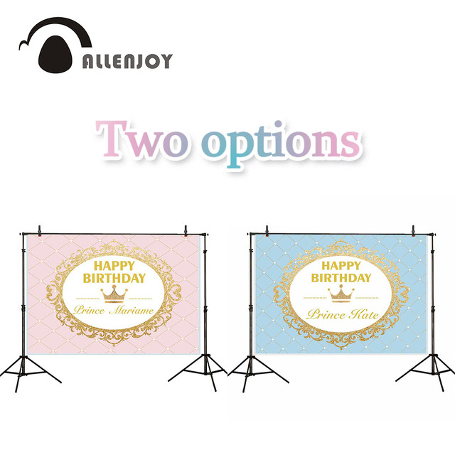 Allenjoy photography backdrops princess prince pink baby blue gold birthday party background photo photocall kid candy bar decor