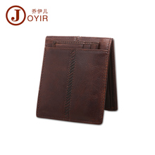 2017 JOYIR Vintage Crazy Horse Leather Men Wallet Genuine Leather Short Money Clip Casual Small Thin Purse for male Man Bag 2007