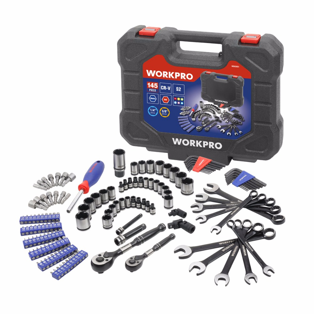 WORKPRO 145PC Set of Tools Instruments Tools Set Car Repair Tools Ratchet Wrench Spanner 1/4 and 3/8 Dr. Socket Set ninth world 29pcs star set male female sockets with 1 4 3 8 1 2 torx sq drive bit auto car repair tools