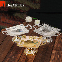 Silver Gold Plated Square Metal Dry Fruit Tray Dish Zinc Alloy Fruit Plate Bowl With Nice