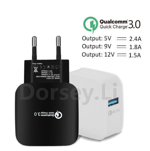EU Plug 2.4A Quick Charge 3.0 (2.0) Wall USB Charger for iphone Xiaomi Samsung Fast Charger QC 3.0 Mobile Charger Phone Charger