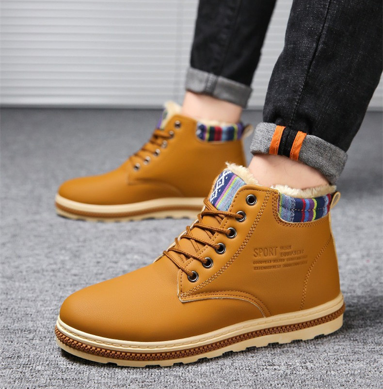 Impermeables Cuero Otoño Pu Martin yellow Nieve Invierno Hombre Hombre blue 2018 Botas Para Ocio De Tobillo Zapatos Negro qnztF
