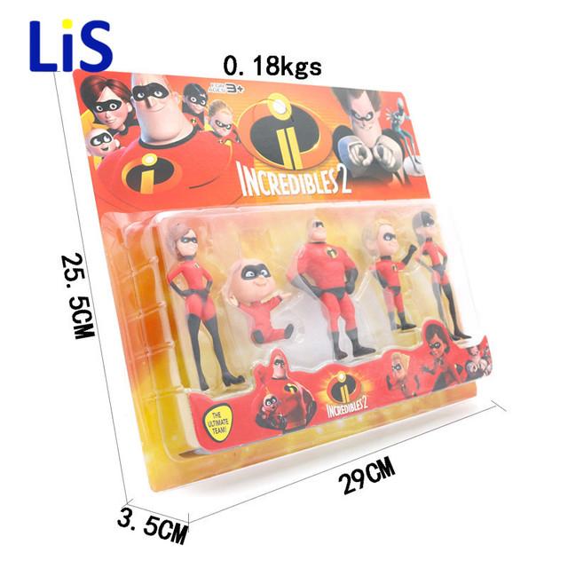 5pcs/lot The Incredibles 2 Super Man Dash Parr Jack Parr Elastigirl PVC Action Figure Model Toys 4-10cm christmas Gift