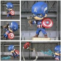 Marvel Мстители 4 эндигра милый Капитан Америка 10 см экшн фигура супергероя игрушки куклы KO's Nendoroid 618 Civil Infinity War Новинка