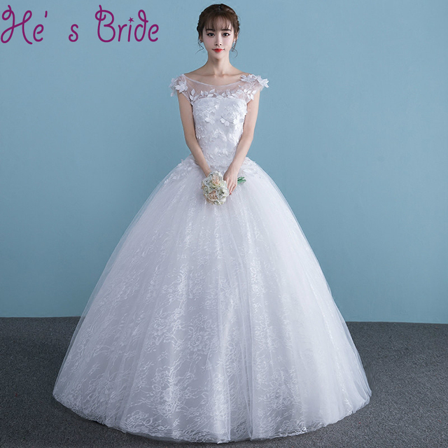 Wedding Dress Elegant White Sheer Scoop Neck Short Sleeves Lace Up ...