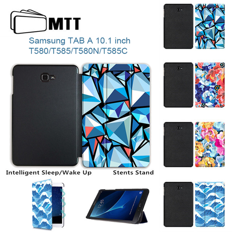 MTT Front Printing Case For Samsung Galaxy Tab a 10.1 2016 s3 SM-T580 T580N T585 T585C Trifold Leather funda Tablet Stand Cover