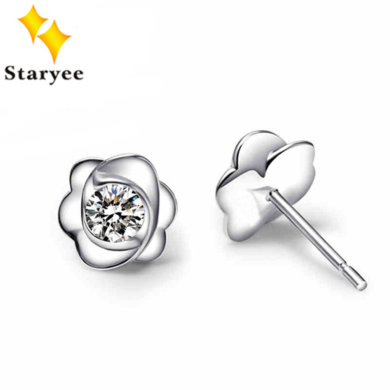 Fashion 2018 Pure 18K Solid White Gold Moissanite Stud Earrings For Women Round Brilliant Certified 0.6CT VVS G H Birthday Gift yoursfs heart necklace for mother s day with round austria crystal gift 18k white gold plated