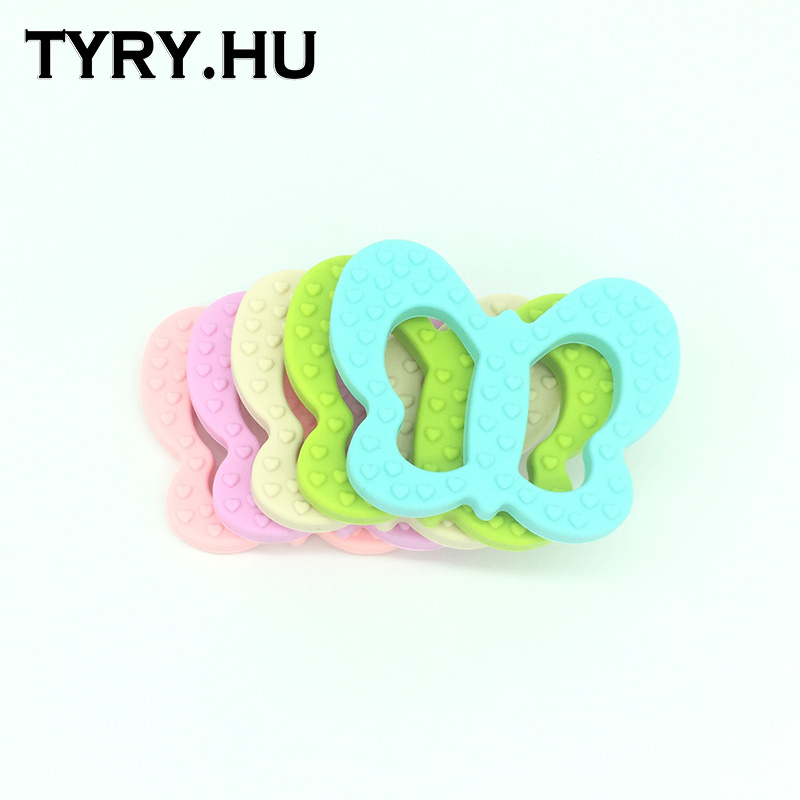 Silicone Butterfly Teether Chewable Silicone Beads Pendant BPA Free - Fashion Jewelry - Photo 5